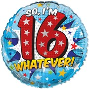 """Round 18"""" 16th Birthday Foil Helium Balloon (Not Inflated) - Age 16 Boy Stars"""