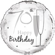 """Round 18"""" 70th Birthday Foil Helium Balloon (Not Inflated) - Age 70 Unisex"""