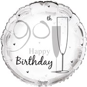 """Round 18"""" 90th Birthday Foil Helium Balloon (Not Inflated) - Age 90 Unisex"""