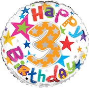 """Round 18"""" 3rd Birthday Foil Helium Balloon (Not Inflated) - Age 3 Unisex Stars"""