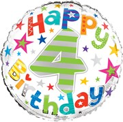 """Round 18"""" 4th Birthday Foil Helium Balloon (Not Inflated) - Age 4 Unisex Stars"""
