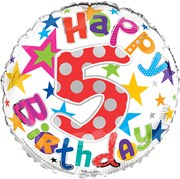 """Round 18"""" 5th Birthday Foil Helium Balloon (Not Inflated) - Age 5 Unisex Stars"""