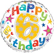 """Round 18"""" 6th Birthday Foil Helium Balloon (Not Inflated) - Age 6 Unisex Stars"""