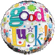 """Round 18"""" Good Luck Foil Helium Balloon (Not Inflated) - Bright Writing Stars"""