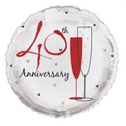 """Round 18"""" 40th Anniversary Foil Helium Balloon (Not Inflated) - Ruby Red Flutes"""