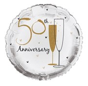 """Round 18"""" 50th Anniversary Foil Helium Balloon (Not Inflated) - Golden Flutes"""