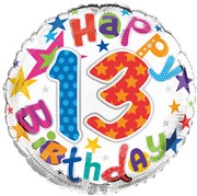 """Round 18"""" 13th Birthday Foil Helium Balloon (Not Inflated) - Age 13 Unisex Stars"""