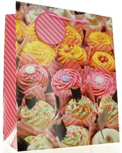 "Large Female Gift Bag - Vibrant Pink & Yellow Decorated Cupcakes 13"" x 10.5"""