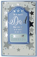 Dad Father's Day Greetings Card - Blue Centre with Silver Foil Glitter Star 9x6""