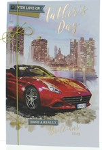 "Father's Day Greetings Card - Red Sports Car with Gold Ribbon and Foil 9""x6"""