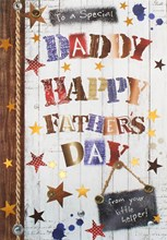 "Daddy Father's Day Greetings Card - Wooden Letters, Sign & Stars 7.75"" x 5.25"""