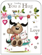 "Jonny Javelin Greetings Card - Sending You a Hug with Love 7.25"" x 5.5"""