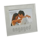 "Engagement Mirror Glass Photo Frame Gift- Engaged In Diamantes 7.25"" x 7"""
