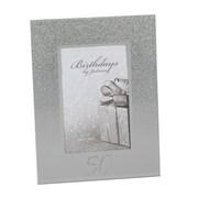 "Juliana 50th Birthday Glittered Mirrored Glass Photo Frame 7"" x 8.5"""