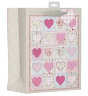 "2 x Large Female Gift Bags - Floral Patchwork Squares & Pink Hearts 13"" x 10.25"""