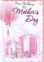"From The Bump Mother's Day Greetings Card - Pink Balloon & Presents 7.5"" x 5.25"""