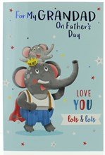 Grandad Father's Day Greetings Card - Elephants with Foil Writing 7.75x5.25""