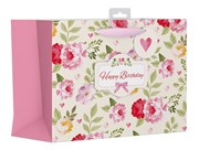 """Large Female Gift Bag - Vintage Pink Happy Birthday Flowers & Bow 10.5"""" x 13"""""""