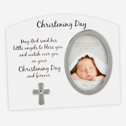 """Juliana White Christening Day Photo Frame With Silver Cross & Verse 7"""" x 5.75"""""""