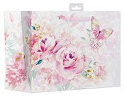 "2 x Large Female Gift Bag - Pink Watercolour Roses & Big Butterfly 13"" x 10.25"""