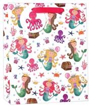 """Medium Children's Birthday Gift Bag - Mermaids Treasure Chest Octopus 10""""x8.5"""""""
