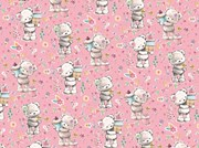 Cute Wrapping Paper - 1 Sheet & Matching Tag - Grey Bear with Cupcake Flowers