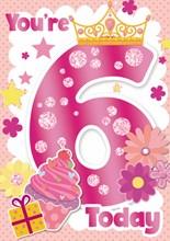 "Age 6 Girl Birthday Card - Big Foil 6 with Crown Cupcake Stars & Glitter 7x5.25"""