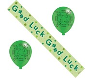 Good Luck Party Pack - Good Luck Foil Banner and Latex Balloons