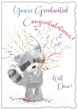 "Open Graduation Greetings Card - Raccoon & Streamers 7.5"" x 5.25"""