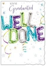"""Open Graduation Greetings Card - Multicoloured Well Done Balloons 7.5"""" x 5.25"""""""