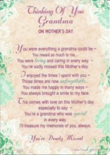 "Loving Memory Graveside Memorial Mother's Day Card - Thinking Of Grandma 6"" x 4"""