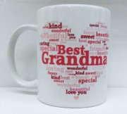Best Grandma Heart White 11oz Mug Gift - Birthday, Mothers Day, Xmas