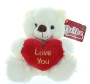 "8"" Cream Teddy Bear Soft Toy Plush Holding Red 'Love You' Heart"