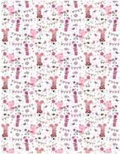 Pink Kitten, Mouse, Gift & Flowers Wrapping Paper - 1 Sheet & Matching Gift Tag