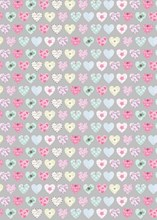 Silver & Floral Patterned Hearts Wrapping Paper - 1 Sheet & 1 Matching Tag