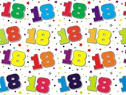 Special Age 18 Gift Wrapping Paper 1 Sheet & Matching Gift Tag - 18th Birthday
