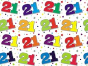 Special Age 21 Gift Wrapping Paper 1 Sheet & Matching Gift Tag - 21st Birthday