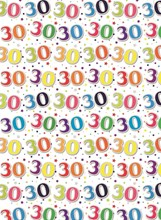 Special Age 30 Gift Wrapping Paper 1 Sheet & Matching Gift Tag - 30th Birthday