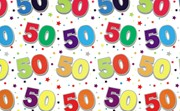 Special Age 50 Gift Wrapping Paper 1 Sheet & Matching Gift Tag - 50th Birthday