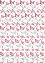 Traditional Female Pale Butterflies Wrapping Paper & 1 Sheet & Matching Gift Tag