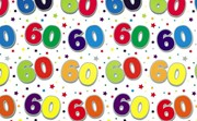 Special Age 60 Gift Wrapping Paper 1 Sheet & Matching Gift Tag - 60th Birthday