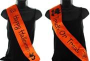 Orange Personalised Halloween Party Satin Ribbon Sash - Black Text & Images