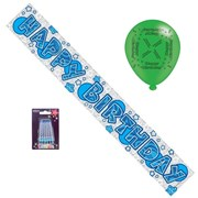 Happy Birthday Party Pack - Blue Silver Banner, Latex Balloons, Blue Candles