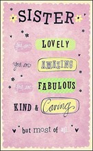 """Gold Sister Birthday Card - Lilac Hearts, Big Text & Yellow Flowers 9"""" x 5.25"""""""
