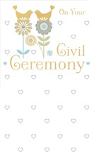"Gold Civil Ceremony Greetings Card - Gold Doves Sat On Blue Flowers 9"" x 5.25"""