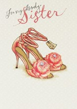 """Gold Sister Birthday Card - Just For You Pink High Heels & Roses 7.5"""" x 5.25"""""""
