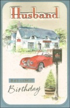 """Gold Husband Handcrafted Birthday Card - Classic Red Car Outside Pub 10.75"""" x 7"""""""
