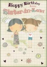 "Gold Sister-in-Law Birthday Card - Girls Holding Lipstick & Brush 7.5"" x 5.25"""