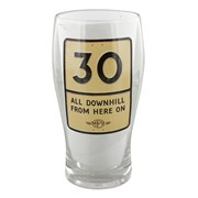 MPH Age 30 Male Downhill Road Sign Pint Glass In Gift Box - 30th Birthday Gift