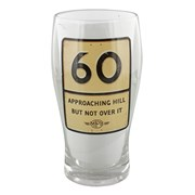 MPH Age 60 Male Over Hill Road Sign Pint Glass In Gift Box - 60th Birthday Gift